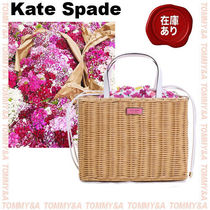 kate spade new york SAM Flower Patterns Blended Fabrics 2WAY Straw Bags