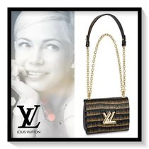 Louis Vuitton TWIST Blended Fabrics 2WAY Chain Leather Elegant Style Handbags
