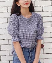 Gingham Puff Sleeves Shirts & Blouses