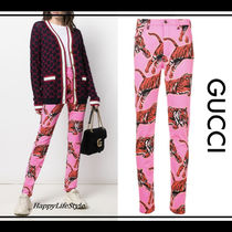 GUCCI Casual Style Other Animal Patterns Cotton Long Skinny Pants