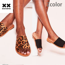 MISSY EMPIRE Leopard Patterns Open Toe Rubber Sole Casual Style Suede