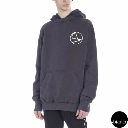 Street Style Long Sleeves Cotton Oversized Logo Hoodies