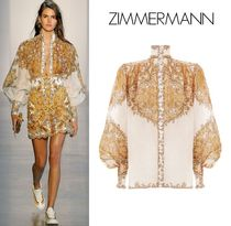 Zimmermann Paisley Casual Style Linen Puff Sleeves Shirts & Blouses
