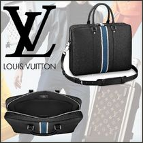 Louis Vuitton TAIGA Blended Fabrics A4 2WAY Bi-color Plain Leather