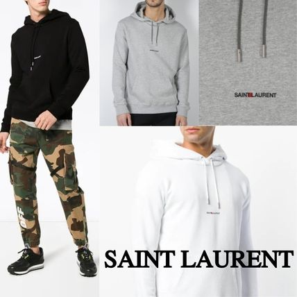 Saint Laurent Hoodies Pullovers Long Sleeves Plain Cotton Hoodies