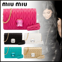 MiuMiu MATELASSE Lambskin 2WAY Chain Party Style With Jewels Clutches
