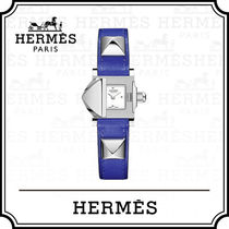 HERMES Studded Leather Square Quartz Watches Analog Watches