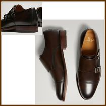 Massimo Dutti Straight Tip Monk Plain Leather Loafers & Slip-ons