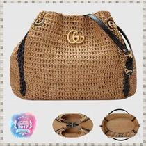 GUCCI GG Marmont A4 Straw Bags