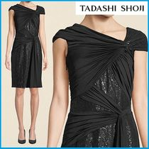 TADASHI SHOJI Tight Plain Medium Short Sleeves Elegant Style Dresses