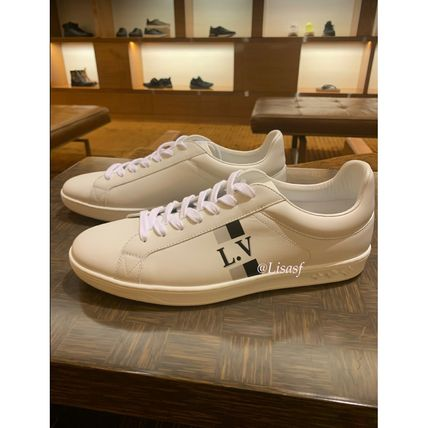 Louis Vuitton Sneakers Stripes Unisex Blended Fabrics Street Style Bi-color Leather