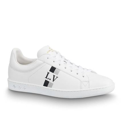 Louis Vuitton Sneakers Stripes Unisex Blended Fabrics Street Style Bi-color Leather 2