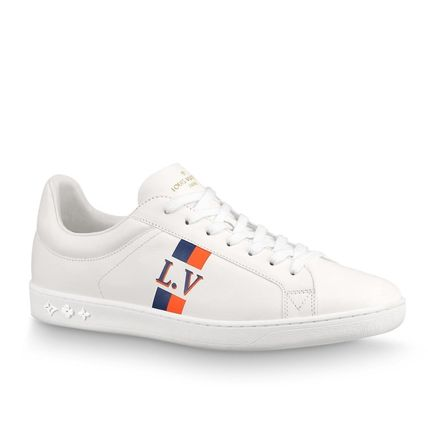 Louis Vuitton Sneakers Stripes Unisex Blended Fabrics Street Style Bi-color Leather 5