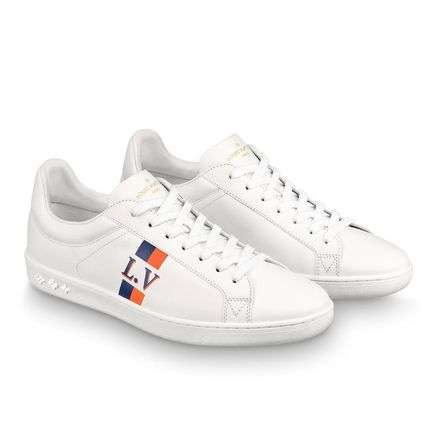 Louis Vuitton Sneakers Stripes Unisex Blended Fabrics Street Style Bi-color Leather 7