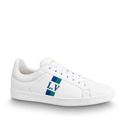 Louis Vuitton Sneakers Stripes Unisex Blended Fabrics Street Style Bi-color Leather 9