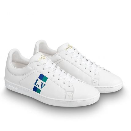 Louis Vuitton Sneakers Stripes Unisex Blended Fabrics Street Style Bi-color Leather 10