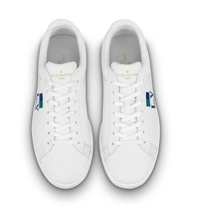 Louis Vuitton Sneakers Stripes Unisex Blended Fabrics Street Style Bi-color Leather 11