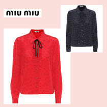 MiuMiu Star Silk Long Sleeves Medium Elegant Style Shirts & Blouses
