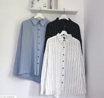 Stripes Street Style Bi-color Long Sleeves Cotton Oversized