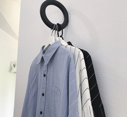 Shirts Stripes Street Style Bi-color Long Sleeves Cotton Oversized 2