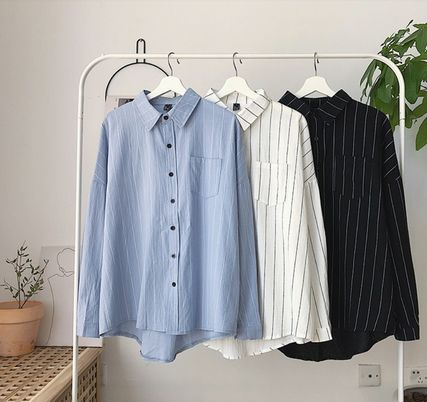 Shirts Stripes Street Style Bi-color Long Sleeves Cotton Oversized 3