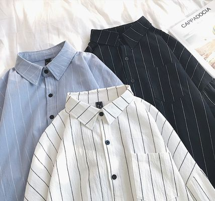 Shirts Stripes Street Style Bi-color Long Sleeves Cotton Oversized 4
