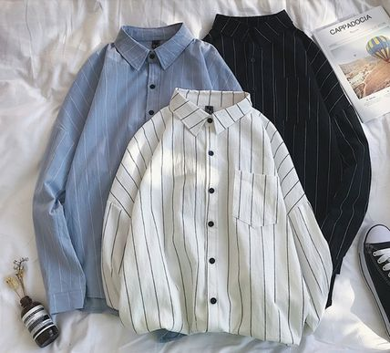 Shirts Stripes Street Style Bi-color Long Sleeves Cotton Oversized 5