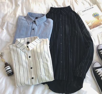Shirts Stripes Street Style Bi-color Long Sleeves Cotton Oversized 6