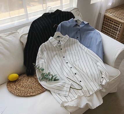 Shirts Stripes Street Style Bi-color Long Sleeves Cotton Oversized 8