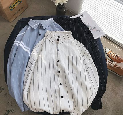 Shirts Stripes Street Style Bi-color Long Sleeves Cotton Oversized 9