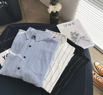 Shirts Stripes Street Style Bi-color Long Sleeves Cotton Oversized 10