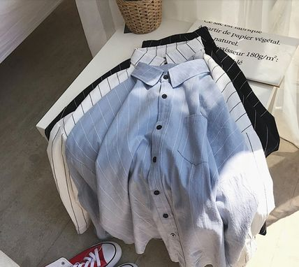 Shirts Stripes Street Style Bi-color Long Sleeves Cotton Oversized 11