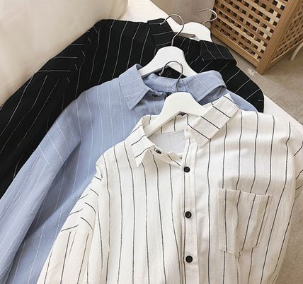 Shirts Stripes Street Style Bi-color Long Sleeves Cotton Oversized 12