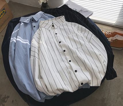Shirts Stripes Street Style Bi-color Long Sleeves Cotton Oversized 13