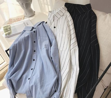 Shirts Stripes Street Style Bi-color Long Sleeves Cotton Oversized 14