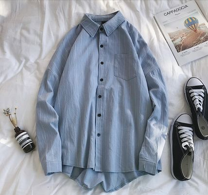 Shirts Stripes Street Style Bi-color Long Sleeves Cotton Oversized 15