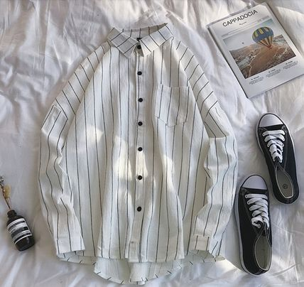 Shirts Stripes Street Style Bi-color Long Sleeves Cotton Oversized 16