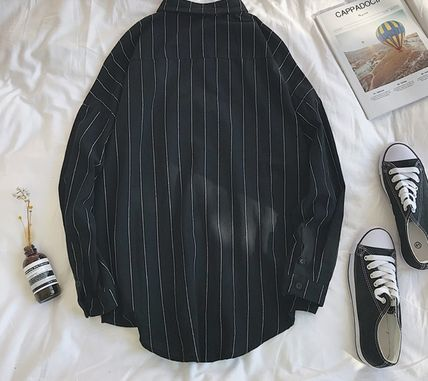 Shirts Stripes Street Style Bi-color Long Sleeves Cotton Oversized 17