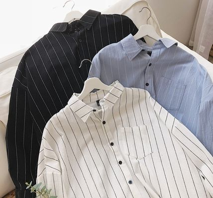 Shirts Stripes Street Style Bi-color Long Sleeves Cotton Oversized 18