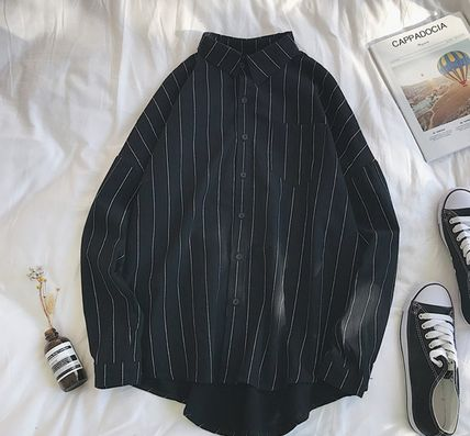 Shirts Stripes Street Style Bi-color Long Sleeves Cotton Oversized 19