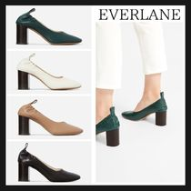 470a1bfa408 Everlane Square Toe Casual Style Plain Leather Block Heels