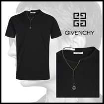 GIVENCHY Crew Neck Street Style Chain Plain Cotton Short Sleeves