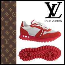 Louis Vuitton Flower Patterns Street Style Plain Leather Bold Sneakers