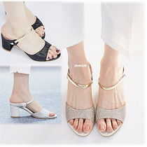Open Toe Enamel Plain Block Heels Heeled Sandals