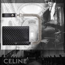 CELINE Unisex Studded Chain Plain Leather Folding Wallets