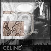 CELINE Unisex Street Style Chain Leather Python Folding Wallets