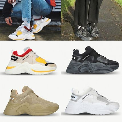 Street Style Plain Leather Dad Sneakers Sneakers