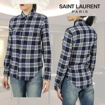 Saint Laurent Other Check Patterns Long Sleeves Shirts & Blouses