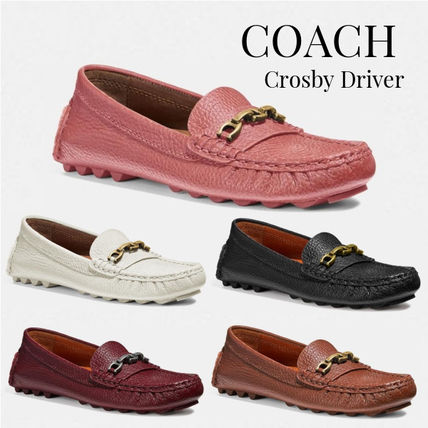 Casual Style Chain Plain Leather Flats