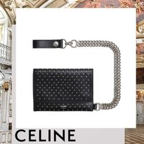 CELINE Calfskin Studded Chain Plain Folding Wallets